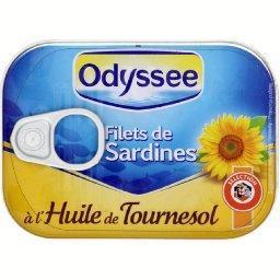 Filets de sardines à l'huile de tournesol, sans arêt...