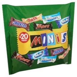 Minis mars, snickers, bounty, milky way, twix