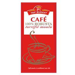 Café 100% robusta torréfié moulu