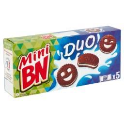 Duo de mini-biscuits fourrés goût chocolat et vanill...