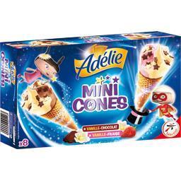 Mini cônes vanille/chocolat & vanille/fraise