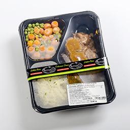 Carbonnades - petits pois et carottes - purée