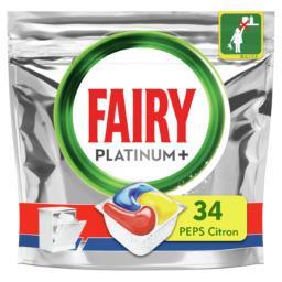 Fairy Fairy Capsules pour lave-vaisselle tout-en-1 platinum+ citron peps Le paquet de 34 capsules