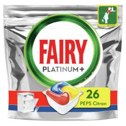 Fairy Fairy Capsules pour lave-vaisselle tout-en-1 platinum+ citron peps Le paquet de 26 capsules