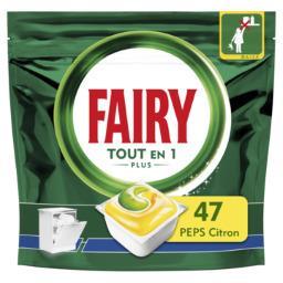 Fairy Fairy Capsules pour lave-vaisselle tout-en-1 plus citron peps Le paquet de 47 capsules