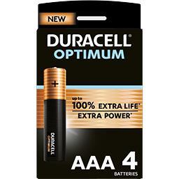 Duracell Duracell Pile AAA 1,5V Alkaline Optimum les 4 piles