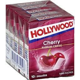 Hollywood Hollywood Chewing-gum parfum cerise sans sucres les 5 boites de 10 dragées -70 g