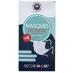 SecuriMask SecuriMask Masques en tissu garantis 30 lavages le lot de 4 masques