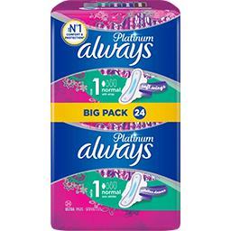 Always Always Serviettes hygiéniques avec ailettes platinum normal (taille1) Le paquet de 24 serviettes