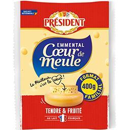 Président Président Emmental Cœur de Meule tendre & fruité le sachet de 400 g - Format Familial