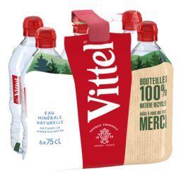 Vittel Vittel Eau minérale naturelle, bouchon sport les 6 bouteilles de 75 cl