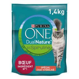 Purina One Purina One Croquettes pour chat adulte stérilisé à la spiruline et bœuf Le sac d'1,4kg