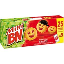 BN BN Mini - Mini biscuits fourrés à la pulpe de fraise les 5 paquets de 35 g