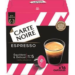 Carte Noire Carte Noire Capsules de café moulu Espresso N°5 les 16 capsules de 8 g