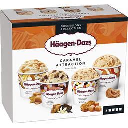 Häagen-Dazs Haagen-Dazs Häagen-Dazs - Glace Mini Pots Caramel Attraction les 4 pots de 95mL