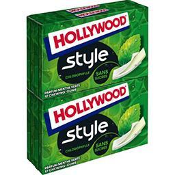 Hollywood Hollywood Style - Chewing-gums chlorophylle sans sucres parfums menthe verte les 4 boites de 12 - 108 g
