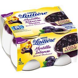 La Laitière La Laitière Yaourt onctueux myrtille intense les 4 pots de 120 g