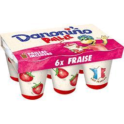 Danone Danonino Paille - Yaourt à boire fraise les 6 pots de 100 g
