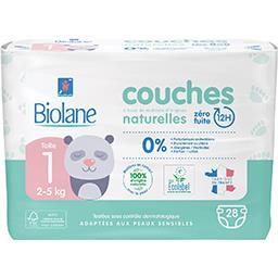 Biolane Biolane Couches bébé naturelles, Taille 1 : 2-5 kg le paquet de 28