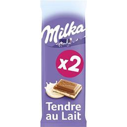 Milka Milka Chocolat Tendre au lait les 2 tablettes de 100 g
