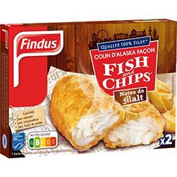 Findus Findus Colin d'Alaska façon Fish and Chips notes de malt la boite de 2 - 240 g