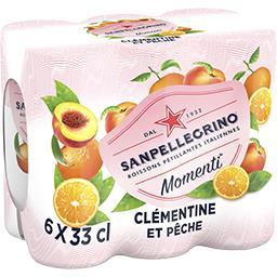 San Pellegrino San Pellegrino Momenti - Boisson pétillante saveurs clémentine et pêche les 6 boites de 33 cl