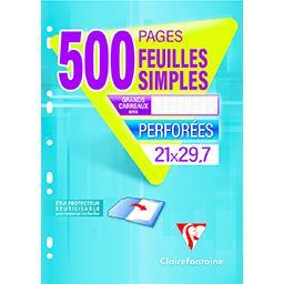 Clairefontaine Clairefontaine Feuilles simples perforées grands carreaux Le paquet de 500 pages 210x297