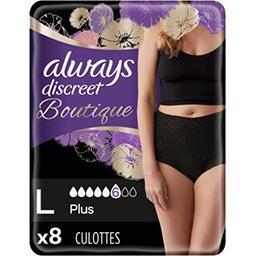 Always Always Discreet Boutique, culottes pour fuites urinaires Le paquet de 8 culottes noires, taille L
