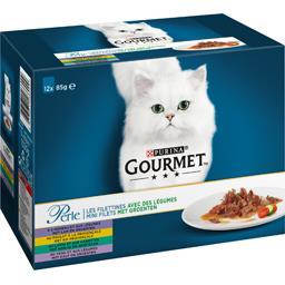 Gourmet Gourmet Perle - Les Filettines légumes agneau-poulet-lapin-veau pour chat les 12 sachets de 85 g