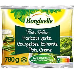 Bonduelle Bonduelle Purée délice haricots verts courgettes épinards, pois, crème le sachet de 780 g