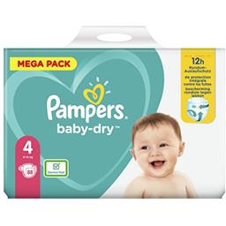 Pampers Pampers Couches baby-dry taille 4, 9-14kg Le paquet de 88 couches
