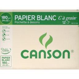 Canson Canson Papier dessin blanc C grain - 24x32cm - 180g-m², la Pochette la pochette de 12 feuilles