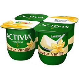 Danone ACTIVIA Lait fermenté au bifidus saveur vanille les 4 pots de 125 g