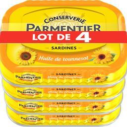 Parmentier Parmentier Sardines huile de tournesol le lot de 4 boites de 135 g