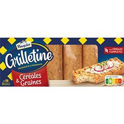 Pasquier Brioche Pasquier Les Grilletines - Tartines grillées céréales & graines le paquet de 18 - 255 g