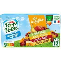 Materne Pom'potes Pom'Potes - Assortiment de spécialités de fruits sans sucres ajoutés les 12 gourdes de 90 g