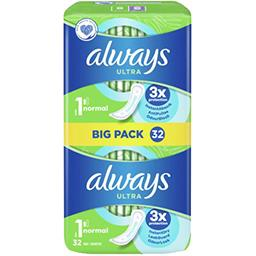 Always Always Serviettes hygiéniques ultra  normal (t1) avec ailettes Le paquet de 32 serviettes