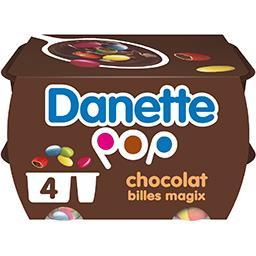 Danone Danone Danette - Crème dessert Pop chocolat billes Magix les 4 pots de 120 g
