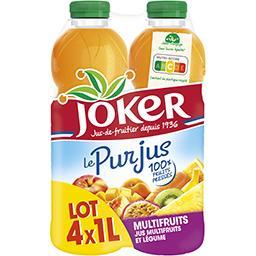 Joker Joker Le Pur Jus - Jus multifruits et légume le lot de 4 bouteilles de 1 l