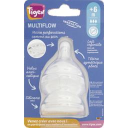 Tigex Tigex Tétines Multiflow silicone taille 3, +6 mois le lot de 2