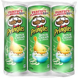 Pringles Pringles Tuiles au goût crème et oignon les 3 boîtes de 175g - 525g