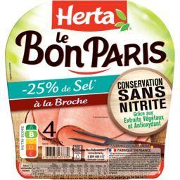 Herta Herta Le Bon Paris - Jambon à la broche réduit en sel la barquette de 4 tranches - 140 g