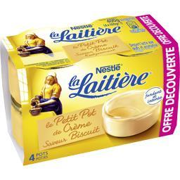 Nestlé La Laitière Petit Pot de Crème saveur biscuit les 4 pots de 100 g