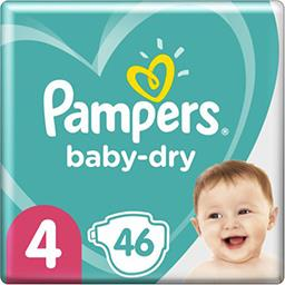 Pampers Pampers Couches baby-dry taille 4, 9-14kg Le paquet de 46 couches