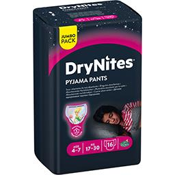 Huggies DryNites Sous-vêtements de nuit absorbants fille 17-30 kg le paquet de 16