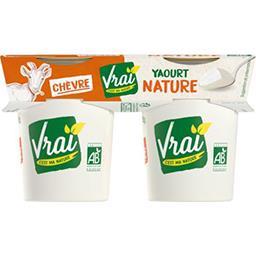 Vrai  Vrai Yaourt BIO au lait de chèvre nature les 2 pots de 125 g