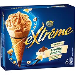 Nestlé Extrême L'Original - Glaces vanille praliné la boite de 6 cônes - 426 g