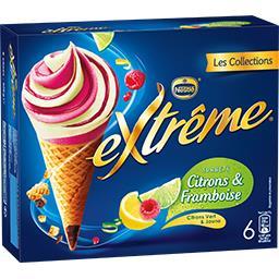 Nestlé Extrême Les Collections - Sorbets citrons & framboise la boite de 6 cônes - 426 g