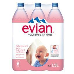 Evian Evian Eau minérale naturelle les 6 bouteilles de 1,5 l