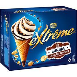 Nestlé Extrême Glaces Sundae chocolat noisettes caramélisées la boite de 6 cônes - 438 g